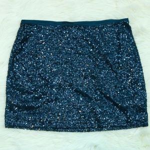 Express Teal Sequin Mini Skirt